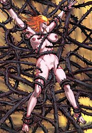 Throne 4 - The monstrous tentacles that are crushing her body by Mr.Kane