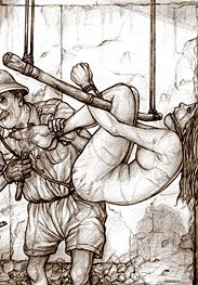 Colonial prison - As she lay there beside her dozing black master by Hines