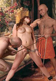 Roman decadence - Ramus removed his cock from one slave and brought it to another by Damian